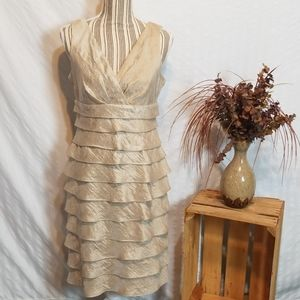 London Times Beige Shiny Sleeveless Formal Dress
